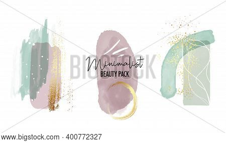 Abstract Watercolor Painting With Gold Violet Mint Green Geometric Minimalist Shapes. Vector Pastel