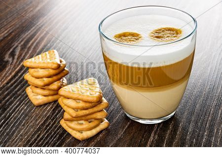 Cookies Triangular, Square And Round Shape, Transparent Glass With Latte-macchiato On Dark Wooden Ta