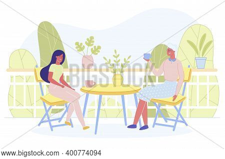 Love Of Mother And Daughter. Happy Women Sitting On Open Terrace At Home Or Nice Summer Cafe On Natu