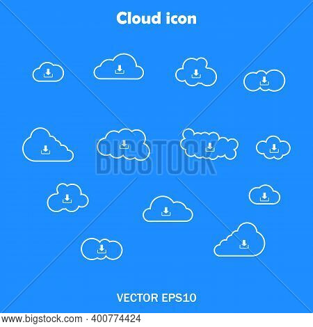 Set Of Linear Icons Of Clouds White On A Blue Background For Sites Set Of Clods. Vector Eps10