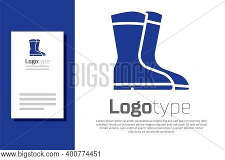 Blue Fishing Boots Icon Isolated On White Background. Waterproof Rubber Boot. Gumboots For Rainy Wea