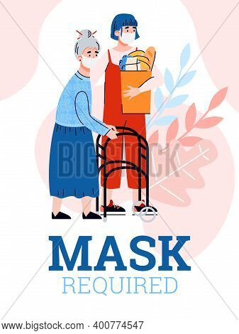 Card With Mask Required Inscription And Volunteer Helping To An Elderly Woman. Banner Of Required Ma