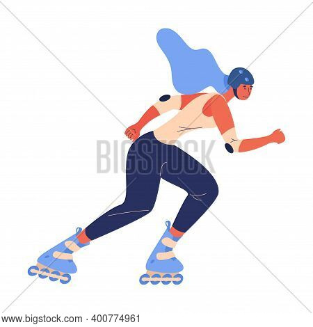 Young Cartoon Character Drawn In Vibrant Blue And Orange Riding Roller Skates Isolated On White Back