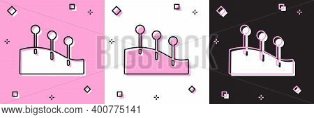 Set Acupuncture Therapy Icon Isolated On Pink And White, Black Background. Chinese Medicine. Holisti