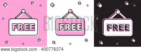 Set Price Tag With An Inscription Free Icon Isolated On Pink And White, Black Background. Badge For