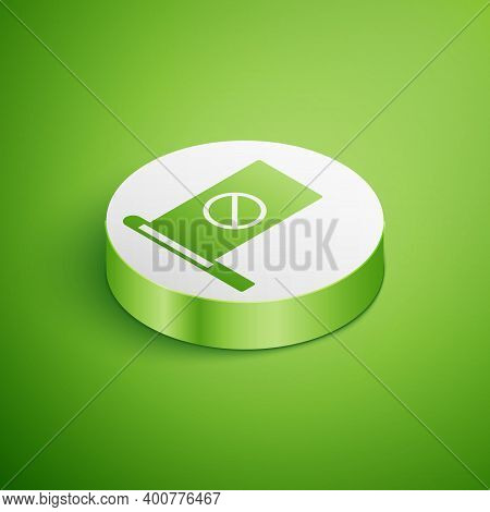 Isometric Protest Icon Isolated On Green Background. Meeting, Protester, Picket, Speech, Banner, Pro