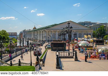 Moscow, Russia - May.12. 2018. View Of Central Exhibition Hall Manege