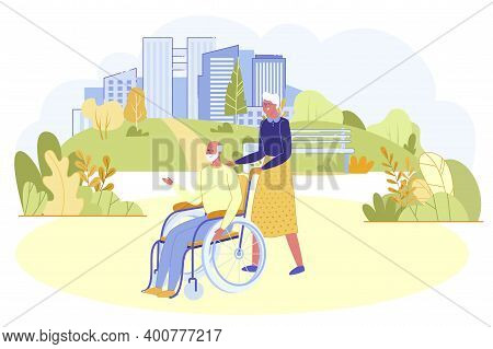Senior Couple Walking Outdoors In City Park. Old Woman Pushing Wheelchair With Aged Man. Love, Tende
