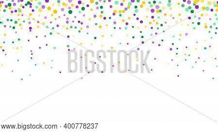 Seamless Horizontal Pattern Beautiful Geometric Yellow, Green, Purple Confetti On White Background.