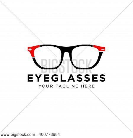 Glasses Plus And Minus Logo Template Design Vector, Emblem, Concept Design, Creative Symbol, Icon