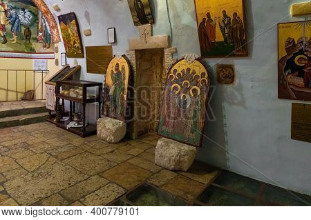 Bethlehem, Israel, December 09, 2020 : The Interior Of The Cave Of The Shepherds In The Greek Orthod