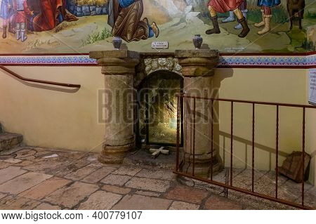 Bethlehem, Israel, December 09, 2020 : The Tomb Of The Shepherds In The Cave Of The Shepherds In The
