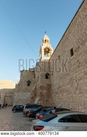 Bethlehem, Israel, December 09, 2020 : Bell Tower On The Building Of Church Of Nativity In The Centr