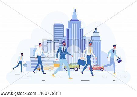 In City Center Men In Business Clothes Hurry Work. Businessmen With Purse In Their Hands Run To Work
