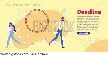 Time Management Flat Cartoon Banner Vector Illustration. Office Workers Working Overtime At Deadline