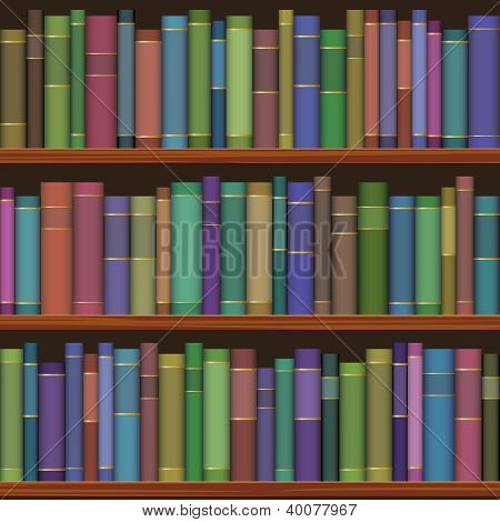 seamless library shelves with old books