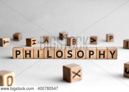 Philosophy - Words From Wooden Blocks With Letters, Love Of Wisdom Philosophy Concept, White Backgro