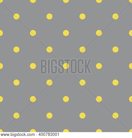 Yellow And Gray Seamless Polka Dot Pattern, Vector Illustration. Seamless Pattern With Yellow Circle