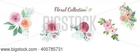 Watercolor Floral Rose Bouquet Design Element Set. Vector Flower For Wedding Concept, Invitation, Gr