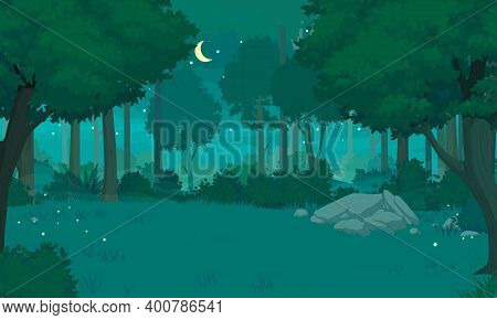 Cartoon Forest Landscape. Deciduous Trees With Lush Foliage, Thick Shrubs, Rocks, Green Grass With C