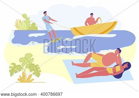 Happy Couple Lying On Sandy Beach Or Seaside Enjoying Summer Vacation. Water Fun Activity. Love, Rel