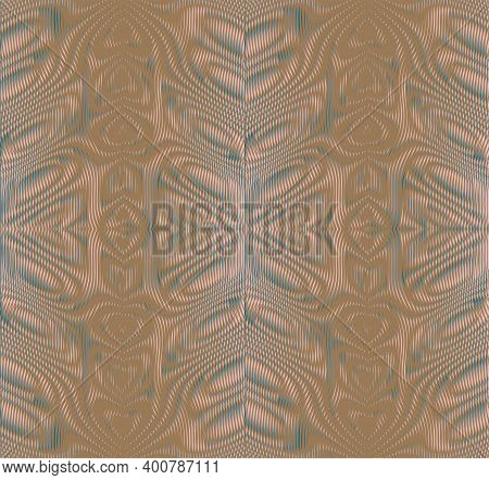 Ornamental Striped Abstract Vector Texture In Beige Grey Halftones With Moire Effect. Contemporary A