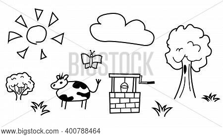 Funny Illustration With A Cow. Outdoors With A Well, A Tree With A Bush, A Butterfly And A Cloud In