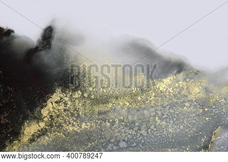Abstract blink smoke painting blots horizontal background. Alcohol ink colors. Marble texture.