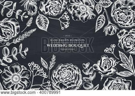 Floral Design With Chalk Roses, Anemone, Eucalyptus, Lavender, Peony Viburnum Stock Illustration