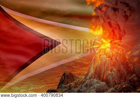 Big Volcano Blast Eruption At Night With Explosion On Guyana Flag Background, Troubles Because Of Er