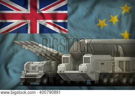Rocket Forces On The Tuvalu Flag Background. Tuvalu Rocket Forces Concept. 3d Illustration
