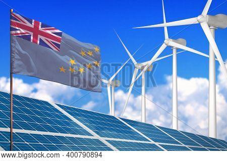 Tuvalu Solar And Wind Energy, Renewable Energy Concept With Windmills - Renewable Energy Against Glo