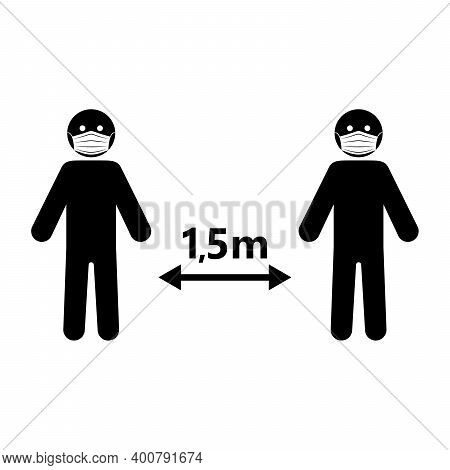 Social Distance Icon. Social Distance 1.5 Meter. Vector Illustration. Keep A Safe Distance