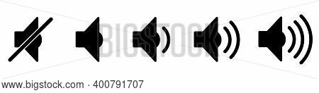 Volume Icon. Set Of Black Volume Icons. Icons Of Different Volume Levels. Vector Illustration.