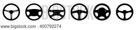 Car Wheel Icon. Vector Illustration. Set Of Different Steering Wheels. Black Car Steering Wheel Symb
