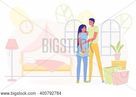 Prompt Poster, Young Couple Waiting For Baby. Happy Husband And Wife Prepared Bedroom For Their Futu