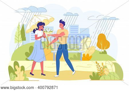 Advertising Banner, Couple In Park On Rainy Day. Happy Guy Meets His Girlfriend, Give Her Bouquet An