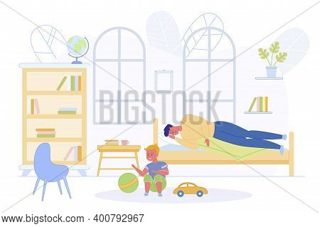 Father Lying On Bed In Children Room And Sleeping Near Little Son Flat Cartoon Vector Illustration.