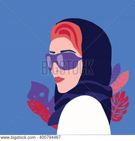 Vector Beautiful Young Woman In Shawl On Her Head And Glasses. Fashion Oriental Style Woman.  Templa
