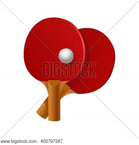 Table Tennis Rackets And Ball. Vector Illustration