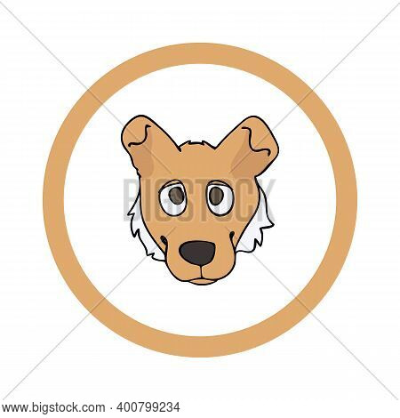 Cute Cartoon Smooth Collie Face In Circle Puppy Vector Clipart. Pedigree Kennel Doggie Breed For Ken