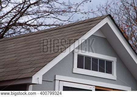 The Barn Is Covered With Asphalt Roof Roofline Shingle