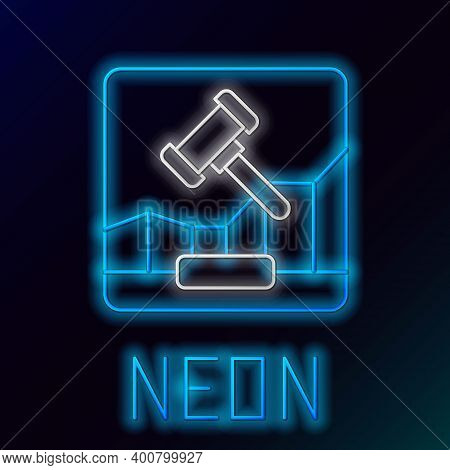 Glowing Neon Line Online Internet Auction Icon Isolated On Black Background. International Trade Con