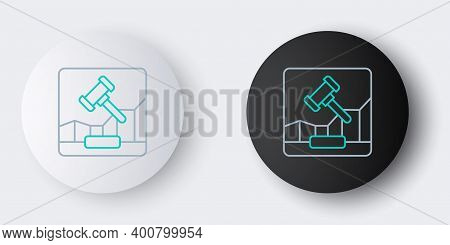 Line Online Internet Auction Icon Isolated On Grey Background. International Trade Concept. Investme