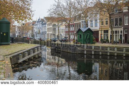 Gouda, Netherlands, November 2018 - Canal View In The City Of Gouda, Netherlands