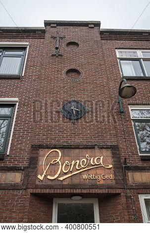 Gouda, Netherlands, November 2018 - Building Facade In The City Of Gouda, Netherlands