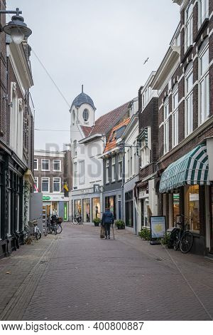 Gouda, Netherlands, November 2018 - Street View In The City Of Gouda, Netherlands