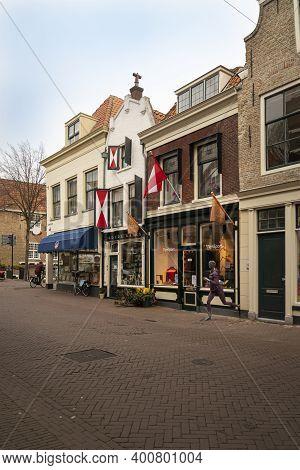 Gouda, Netherlands, November 2018 - Shop Fronts In The City Of Gouda, Netherlands