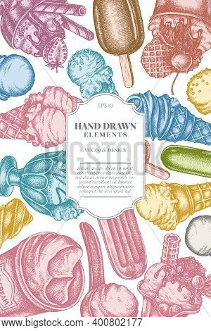 Card Design With Pastel Ice Cream Bowls, Ice Cream Bucket, Popsicle Ice Cream, Ice Cream Cones Stock