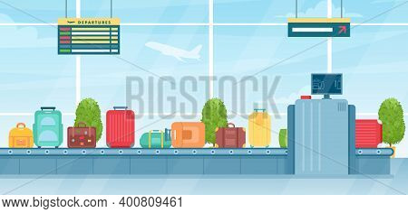 Travel Suitcases On Baggage Conveyor Belt In Airport Terminal, Passenger Luggage Bags